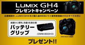 縦撮りに便利、防塵・防滴仕様 LUMIX GH4 バッテリーグリップ プレゼント