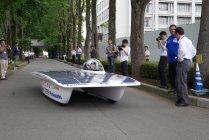 新型ソーラーカー試走!東海大学で行われたWSC 2015参戦発表会