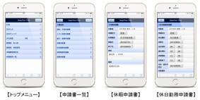 「MajorFlow Time 申請書スマートデバイス対応」の画面イメージ