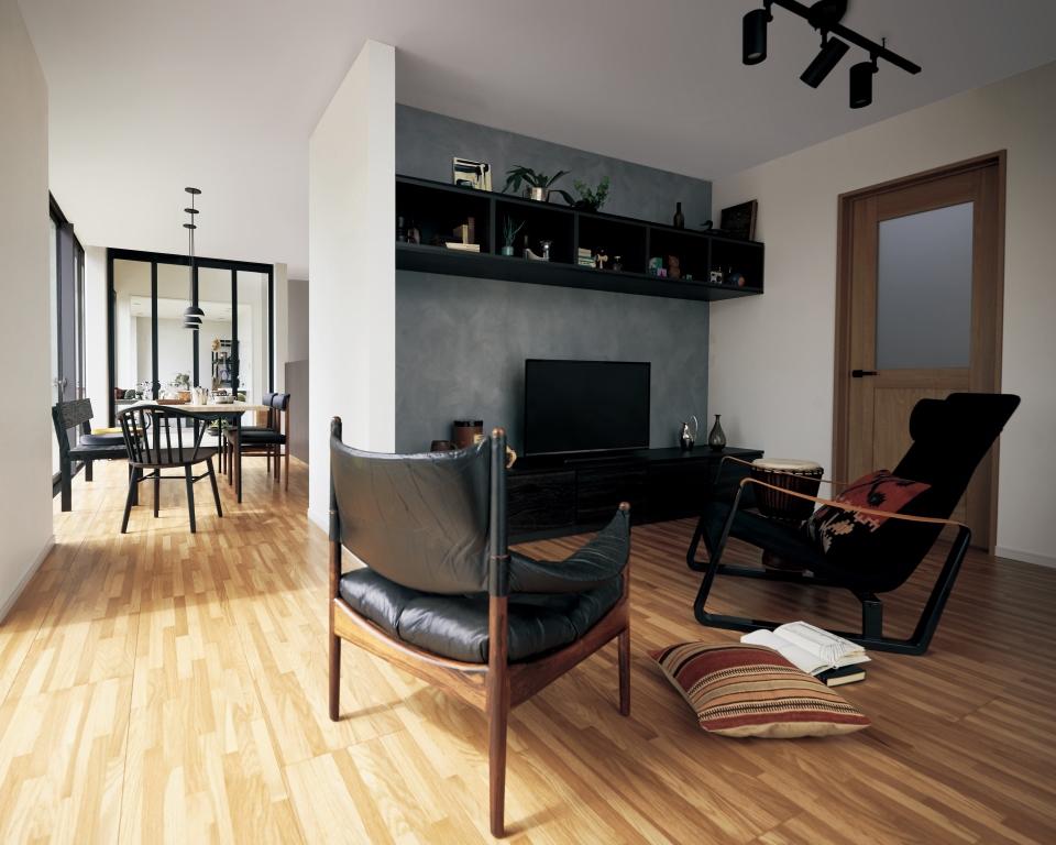 寄木調の床「アーキスペックフロアー ヨセギ」クリアオーク色 使用イメージ