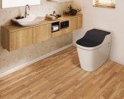 寄木調の床「アーキスペックフロアー ヨセギ」クリアオーク色 トイレ空間使用イメージ