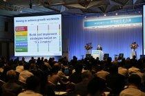 第17回日経フォーラム「世界経営者会議」で成長戦略を紹介するパナソニック 津賀一宏社長