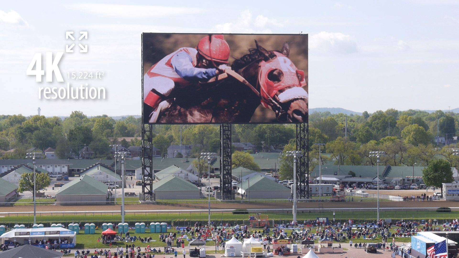 パナソニックの4K映像装置が設置されたチャーチルダウンズ競馬場