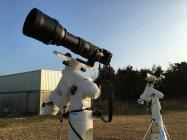 皆既日食ライブ中継機材。LUMIX GH4に望遠鏡と赤道儀を装着