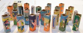「Life is electric」のイベントで展示した電池のパッケージ