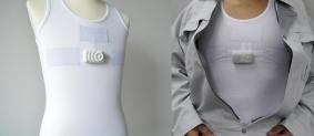 作業着などの下に着ることもできる着衣型生体センサー(ミツフジ株式会社製)