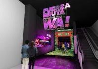 アクロサインによる、「フエルサ ブルータ」エントランス空間演出イメージ~マルチサイネージ