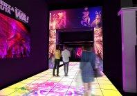 アクロサインによる、「フエルサ ブルータ」エントランス空間演出イメージ~ゲートサイネージ
