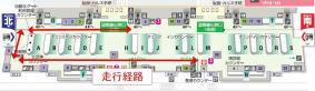 「Signage HOSPI」実証実験 走行ルート(成田国際空港 第2ターミナル 3階)