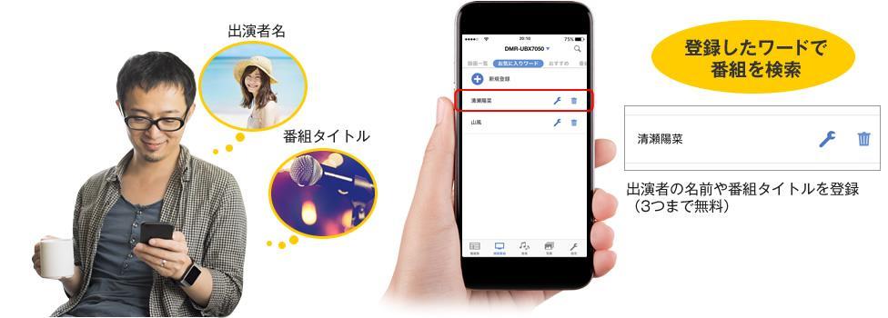 スマートフォンアプリ「どこでもディーガ」Ver.2.0~「お気に入りワード登録」で番組を一発検索可能