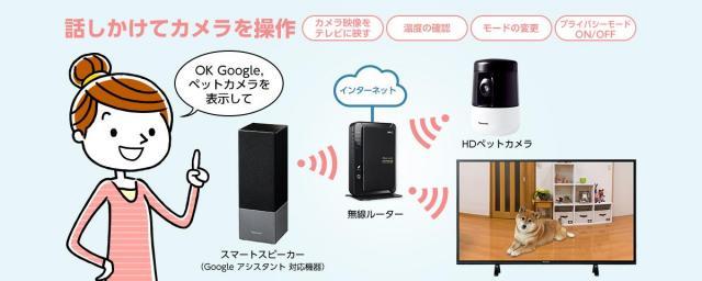 パナソニック HDペットカメラが Google アシスタント への対応開始~スマートスピーカーで音声操作が可能に
