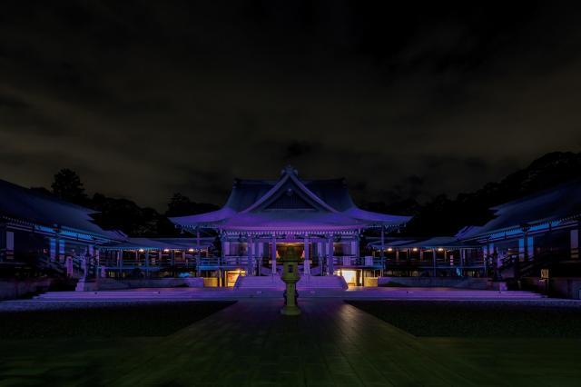 法多山尊永寺(静岡県袋井市)の本堂をパナソニックのLEDフルカラー投光器「ダイナセルファー」がライトアップ