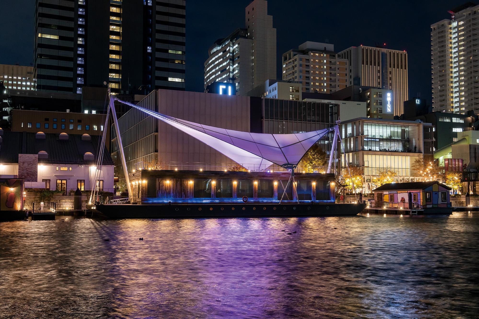 東京・天王洲運河エリアのライトアップ