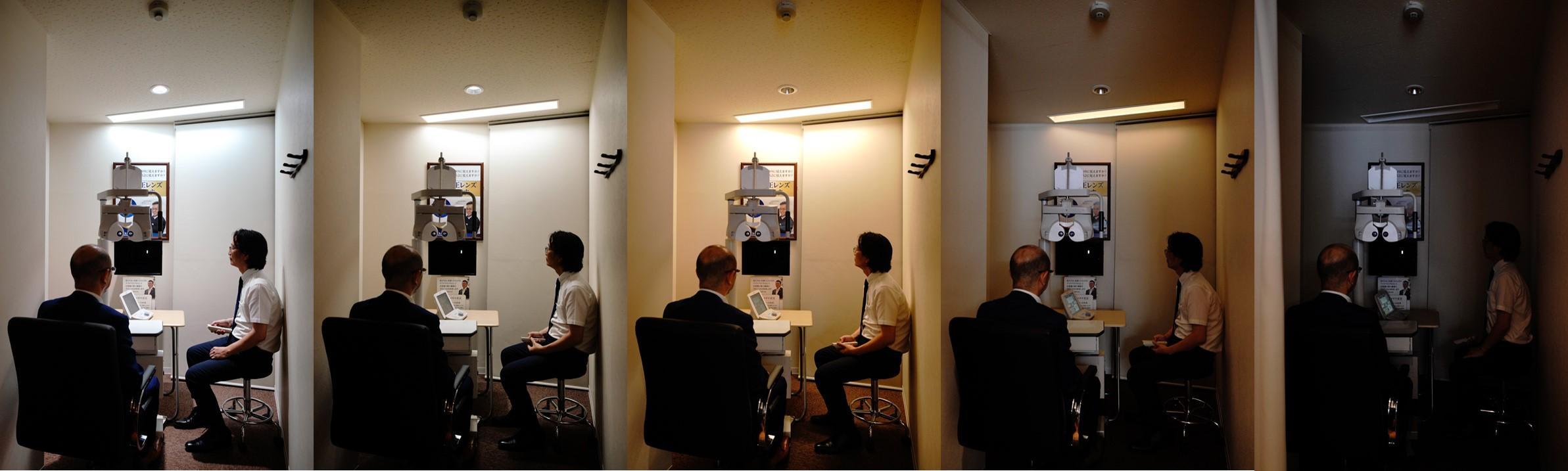 「視力検査照明システム」の5つの光のシーン設定