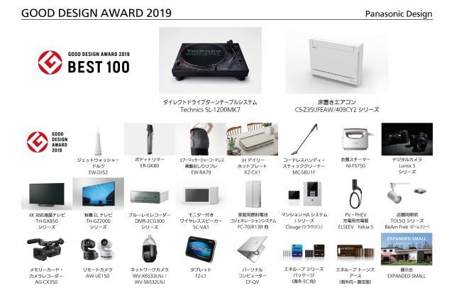 「2019年度グッドデザイン賞」においてパナソニックが「ベスト100」に2件選定
