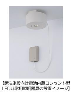 民泊施設向け電池内蔵コンセント型LED非常用照明器具の設置イメージ