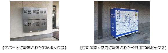 アパートに設置された宅配ボックス、京都産業大学内に設置された公共用宅配ボックス