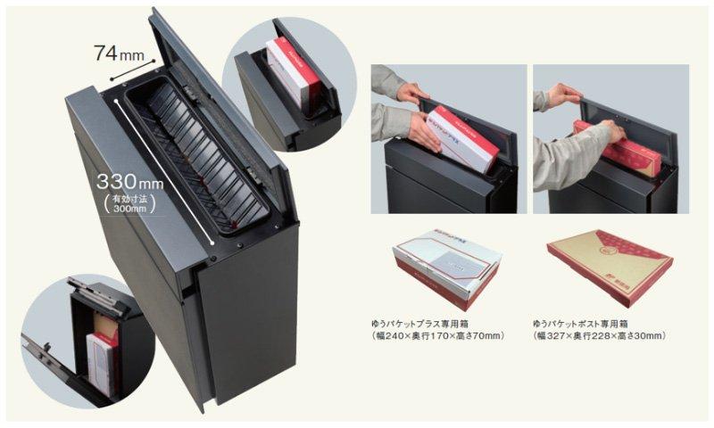 Pakemo(パケモ)投函口イメージ画像、ゆうパケットプラス専用箱の投函イメージ、ゆうパケットポスト専用箱の投函イメージ