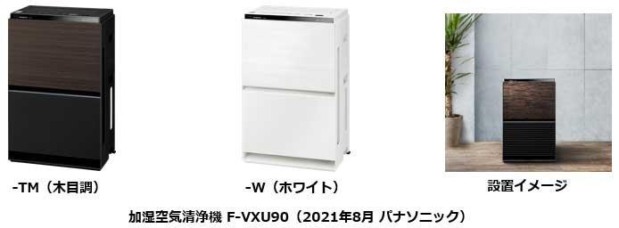 加湿空気清浄機 F-VXU90-TM(木目調)、F-VXU90-W(ホワイト)、F-VXU90 設置イメージ
