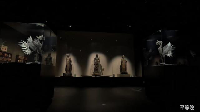 LEDの光の演出で美しく浮かび上がる「平等院ミュージアム鳳翔館」の国宝たち
