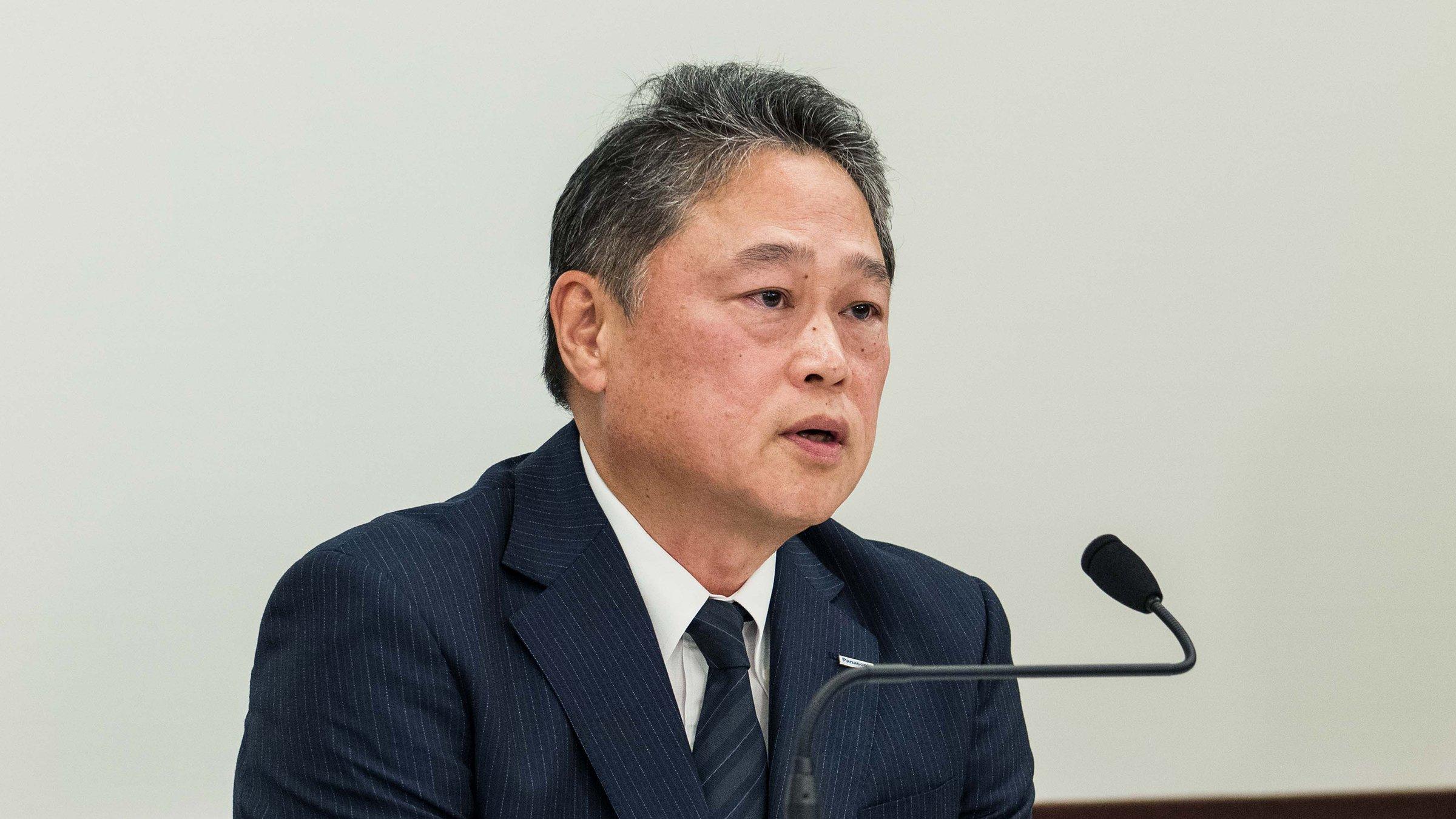 写真:オンライン会見にて、CFOの梅田が2021年度1Q決算内容を説明