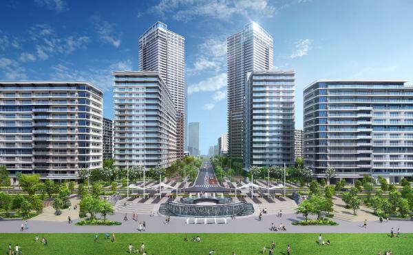 図:晴海ふ頭公園&晴海緑道公園完成予想CG 公園中央には広大な芝生の多目的広場を設け、海辺に開かれた開放的な空間の創出を目指す