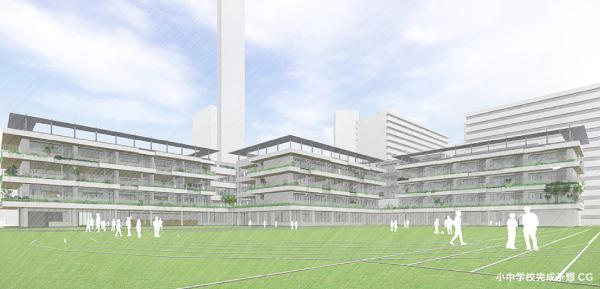 図:小学校完成予想CG 晴海5丁目には約6,000㎡の校庭を有する小中学校が新設され、プール、武道場、体育館、校庭などは地域に開放される予定