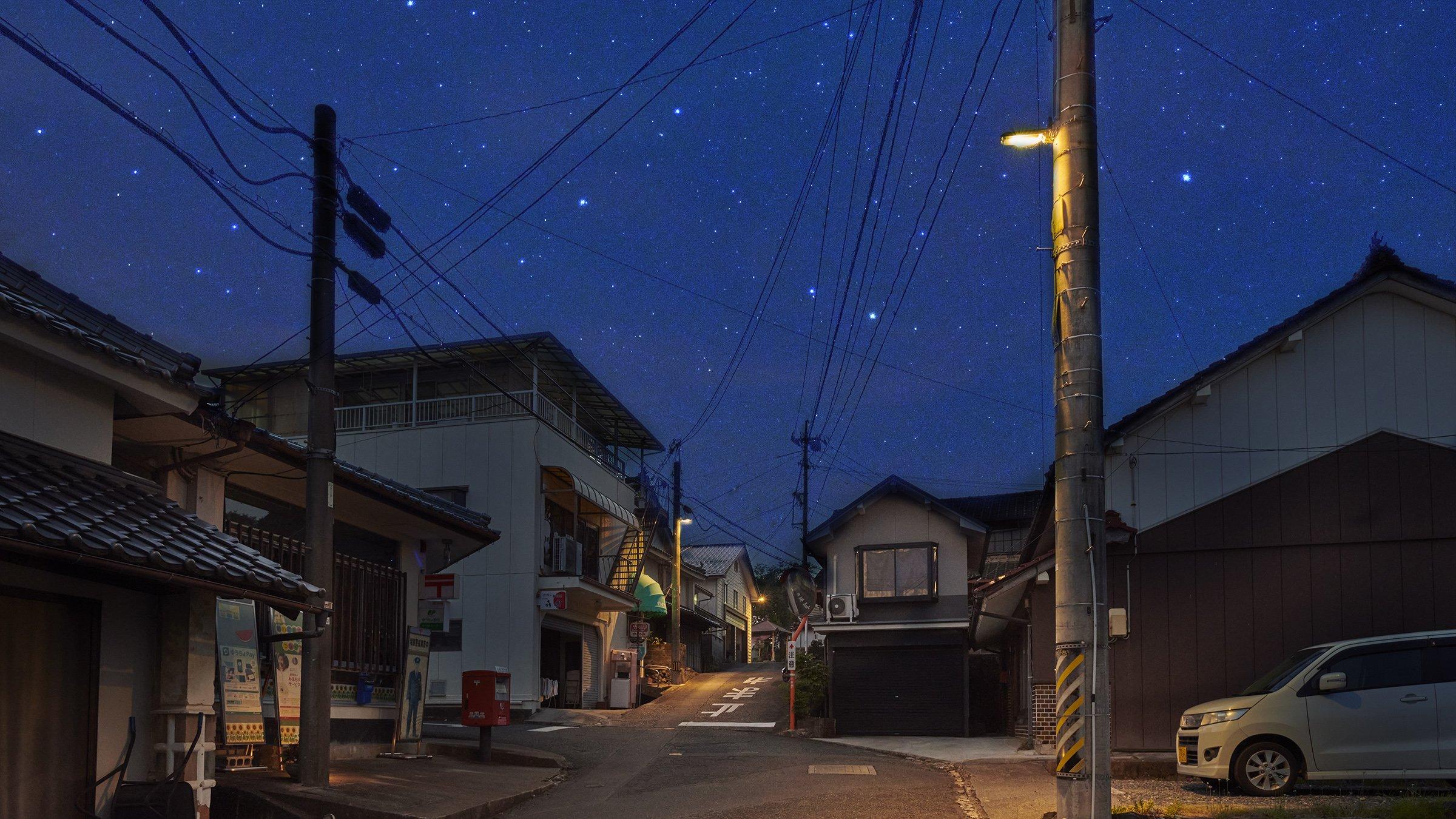 写真:岡山県井原市美星町に導入された光害対策型防犯灯