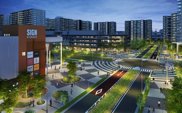 図:街並完成予想CG 快適な日常をサポートする商業施設や保育施設、シニア住宅なども整備される予定