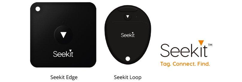 Seekitのトラッカー。画像左:四角い「Seekit Edge」。画像右:円形の「Seekit Loop」。