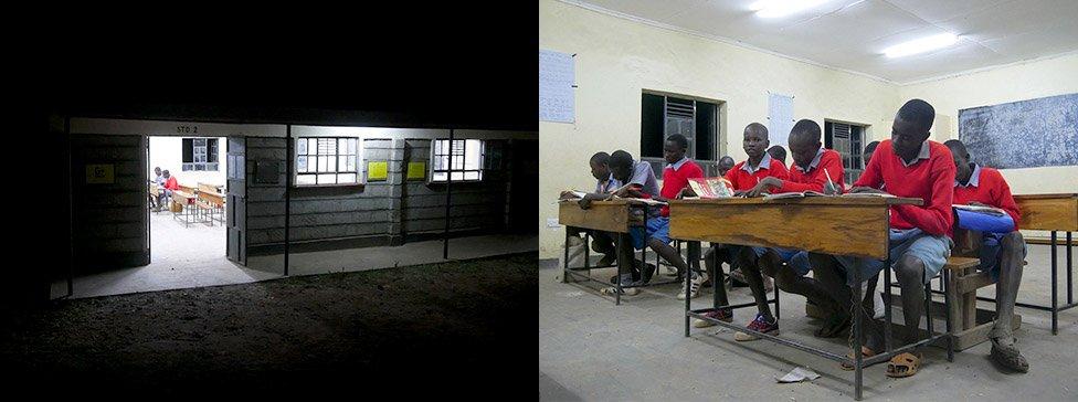 写真:小学校での夜の補習授業の様子