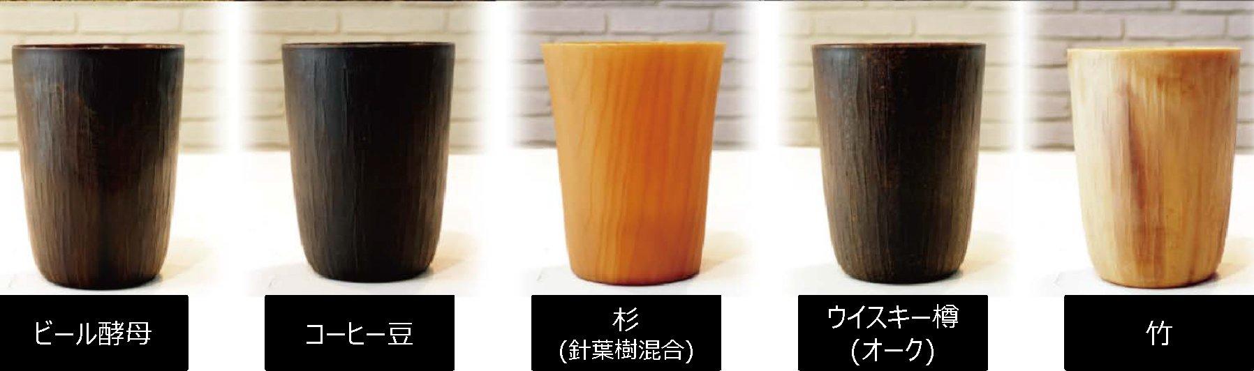 写真:左から、ビール酵母、コーヒー豆のかす、杉、ウィスキー樽、竹を用いたリユースカップ