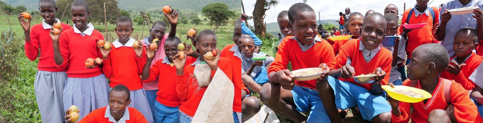 写真:畑で、トマト、とうもろこし、スイカなどを栽培するケニアの子どもたち