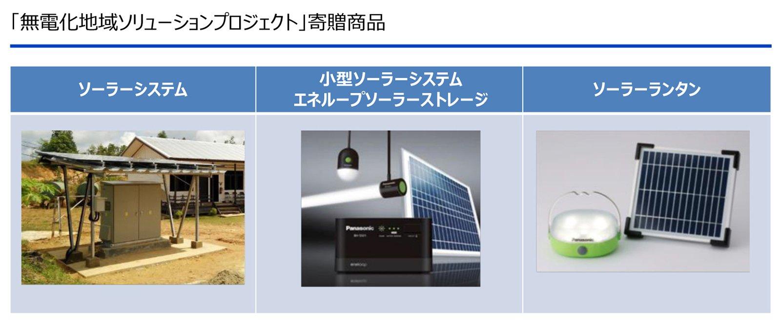図版:「無電化地域ソリューションプロジェクト」寄贈商品。左から、ソーラーシステム、小型ソーラーシステム エネループソーラーストレージ、ソーラーランタン。