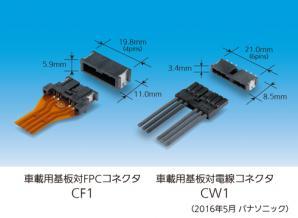 「車載用基板対FPCコネクタ CF1」「車載用基板対電線コネクタ CW1」