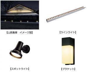 山居倉庫 イメージ図、ラインライト、スポットライト、ブラケット