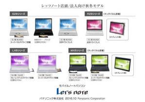 モバイルノートパソコン Let's note 個人店頭/法人向け 秋冬モデル