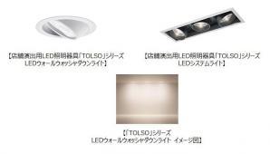 店舗演出用LED照明器具「TOLSO(トルソー)」シリーズ LEDウォールウォッシャダウンライトなどを発売