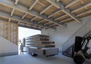 2階建てで1階の天井高4 mの建物を木造で実現する高天井対応部材を発売