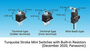 Panasonic Commercializes Small Waterproof Switches with Wiring Failure Detection Function: Turquoise Stroke Mini Switches with Built-in Resistors
