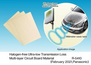 Panasonic Commercializes R-5410 Halogen-free Ultra-low Transmission Loss Multi-Layer Circuit Board Material for Millimeter -Wave Antennas