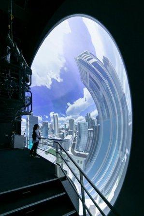 VR技術を用いて実寸大・立体視で体感し支援する等身大立体投影装置「汐留サイバードーム」を18年ぶりにリニューアル